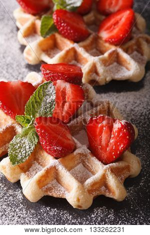 Belgian Waffles With Strawberries And Sprinkled With Powdered Sugar Macro
