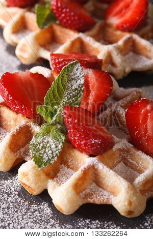 Beautiful Food: Belgian Waffles With Fresh Strawberries. Vertical