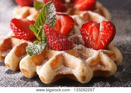 Belgian Waffles With Fresh Strawberries Macro On A Slate Table. Horizontal