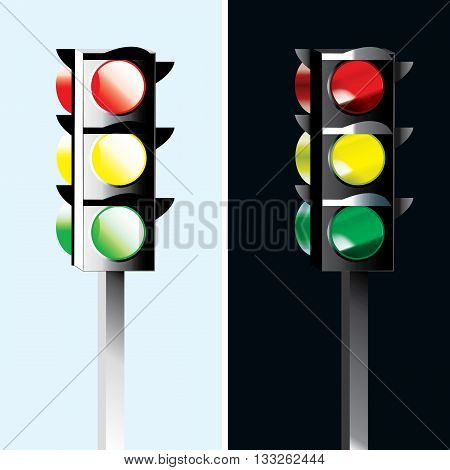 Standard traffic lights - Day and night different illustration