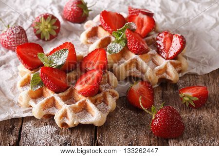 Beautiful Sweet Waffles With Strawberries, Powdered Sugar. Horizontal