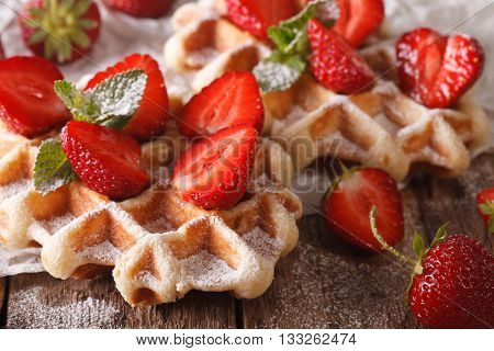 Belgian Cuisine: Waffles With Strawberries, Powdered Sugar Macro. Horizontal