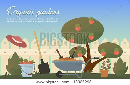 Vector flat illustration of garden agricultural accessories, tools, instruments. Equipment for soil work. Trowel, shovel, bush, tree with apples, spade and bucket, wooden fence, hat. EPS 10