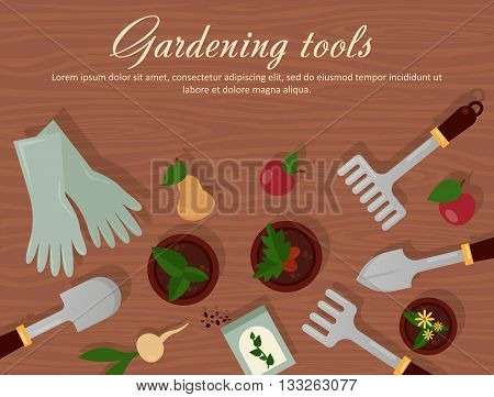 Vector flat illustration of garden agricultural accessories, tools, instruments. Equipment for farmyard. Trowel, shovel, radish, apple, pear and carrot, rubber gloves, pot with plants and flowers. EPS 10