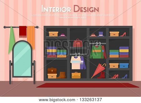 Vector flat illustration of room, with wardrobe, mirror with towels, shelf on the floor, parket with carpet rug. Shoes on heels, boots, packs, bag, umbrella, cloth and shirt,  in home, apartment, eps 10