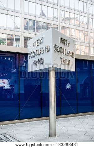London United Kingdom - June 5th 2016: Sign for New Scotland Yard City of Westminster London. New Scotland yard moved to its current location in 1967.