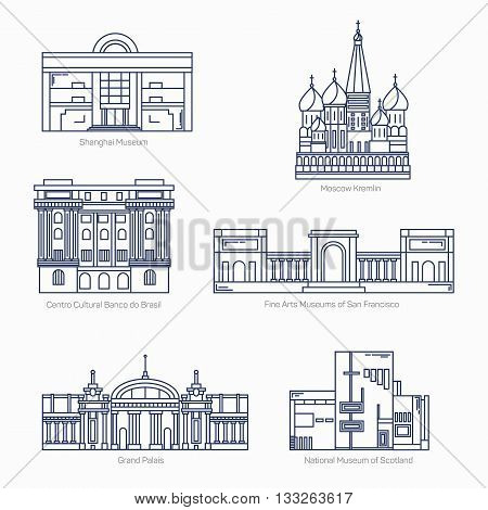 Monuments thin line vector icons. Shanghai museum, Moscow Kremlin, Bank of Brazil Cultural Center, Fine Arts Museums of San Francisco, Grand Palais, National museum of Scotland. Famous world museums. EPS 10