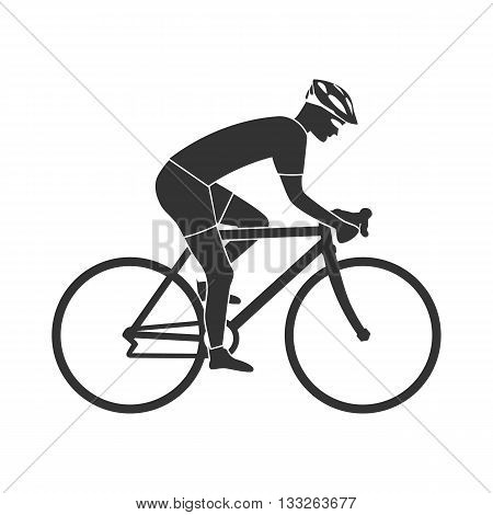 Cyclist silhouette icon man on racing bike. Isolated icon sports bike races. Vector illustration. Speed racing bike.