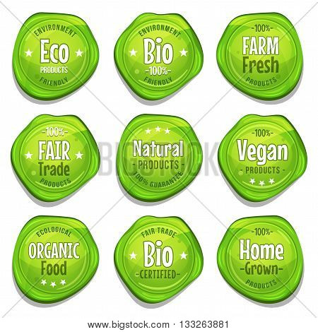 Illustration of a set of funny bio and ecological green seal stamper with fair trade environment friendly vegan farm fresh or home grown mentions for healthy food products