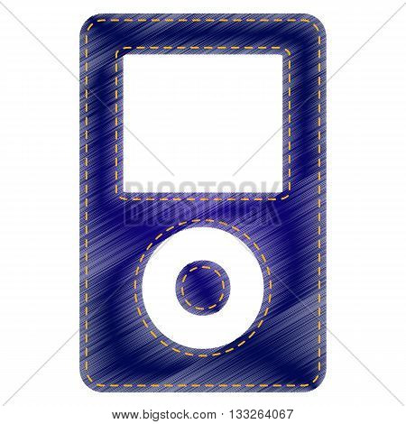 Portable music device. Jeans style icon on white background.