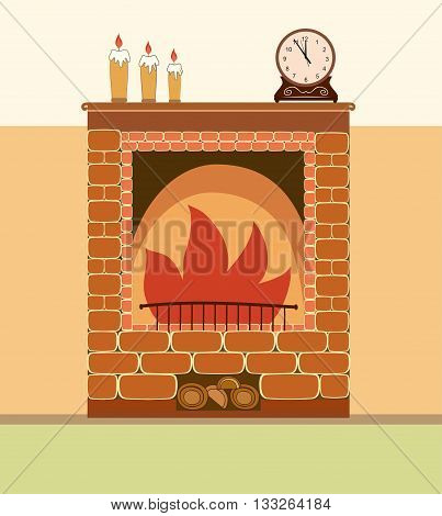 Fireplace vector illustration. Elements of home design