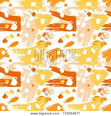 Color spots coffee vector seamless pattern in warm color scheme