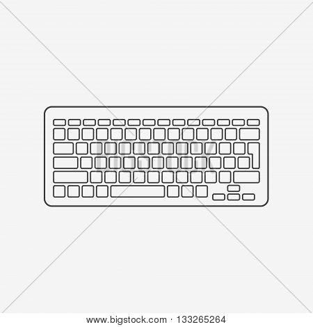 Computer keyboard monochrome icon on white background. Vector illustration.