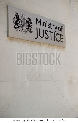 London United Kingdom - June 5th 2016: A Ministry of Justice sign on a building in the City of Westminster London.