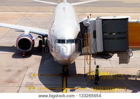 BERLIN / GERMANY - JUNE 4 2016: Aeroflot - Russian Airlines Boeing 737-8LJ (WL) plane stands at terminal on airport schoenefeld berlin / germany at june 4 2016
