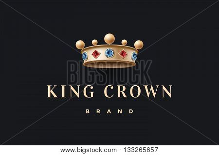 Logo with gold king crown and inscription King Crown Brand on a dark black background. Vector Illustration
