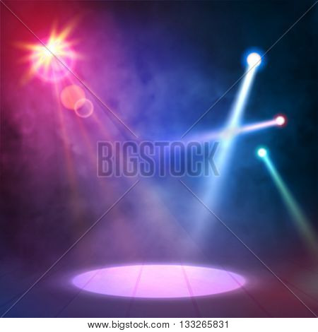 Blue Lilac Great Premiere Show Background. Smoky vector stage shining with spotlights rays.