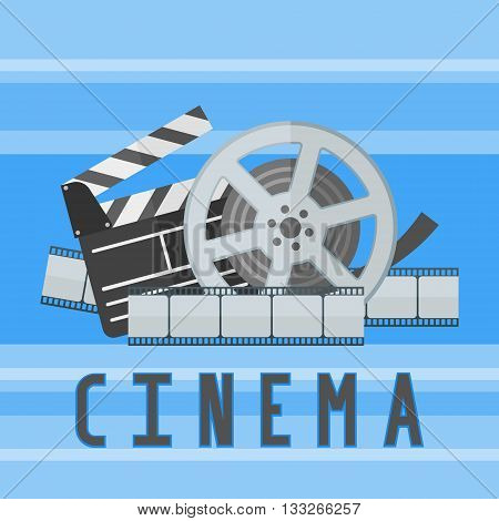 Cinema movie poster template with film reel, strip and clapper board on blue background. Flat style vector illustration.