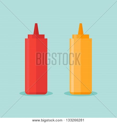 Bottles of ketchup and mustard isolated on blue background. Vector illustration.