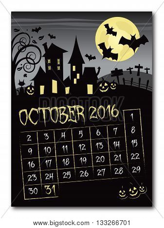 Halloween october 2016 black and yellow countdown calendar poster no shadow on the eps 10 text is outlined