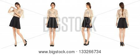 Young And Beautiful Student In Black Skirt Isolated