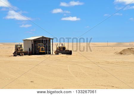 NAMIBIA - JAN 26 2016: Road machinery in the hangar for cleaning railway tracks in the Namib Desert