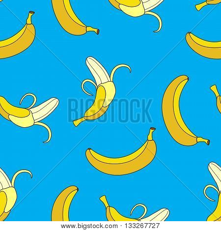 Seamless Pattern Yellows Single Bananas Peeled Bananas on Blue Background.