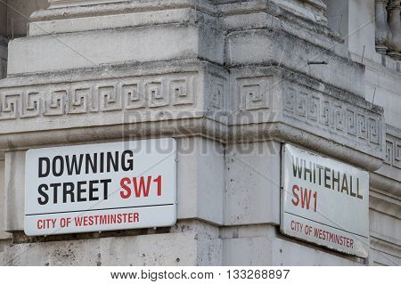 London United Kingdom - June 5th 2016: Downing Street location of Number 10 home of the British Prime Minister.