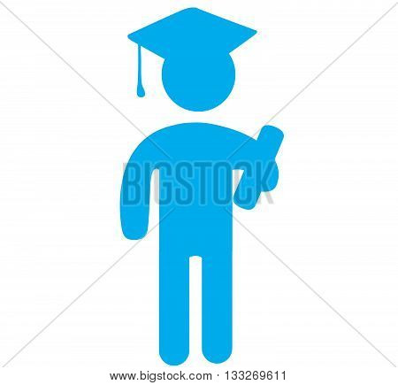 Blue icon vector illustration of a graduate with mortar board and diploma