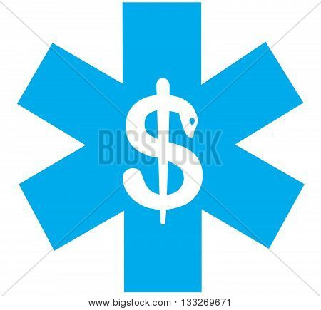 Blue icon illustration depicting price of healthcare