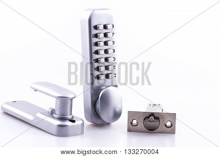 Security combination lock and door handle on a white background