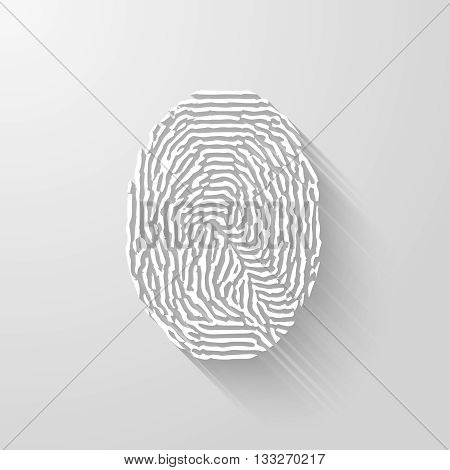 Fingerprint. Vector white isolated fingerprint on white background with long shadow.