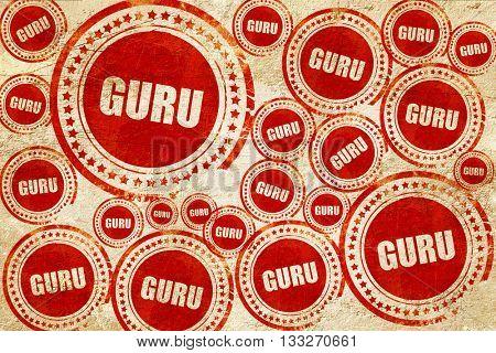 guru, red stamp on a grunge paper texture