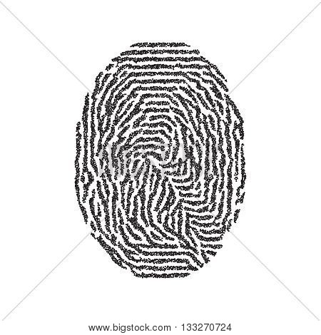 Fingerprint. Vector black isolated fingerprint on white background