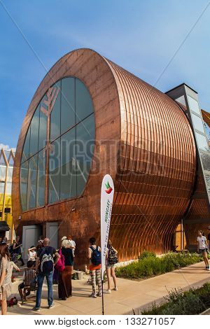 MILAN, ITALY - JUNE 1, 2015: Unidentified people by the Hungarian Pavilion at EXPO 2015 in Milan Italy. EXPO 2015 took place from 1 May to 31 October 2015.