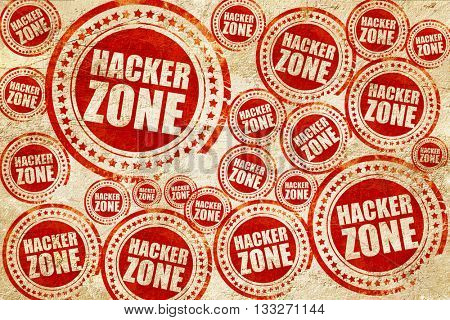 hacker zone, red stamp on a grunge paper texture