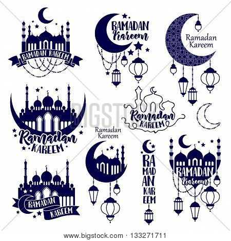 Emblems labels set for Ramadan. Ramadan Kareem Muslim holiday celebration. Ramadan greeting card flyer poster design. Ramadan badges vector illustration. Moon mosque and lantern.