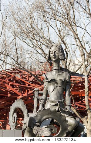SHANGHAI, CHINA - MARCH 15, 2014: Detail of the sculpture at Jing'an International Sculpture Exhibition titled City Fantasy. It features 68 sculptures by 31 artists from eight countries.
