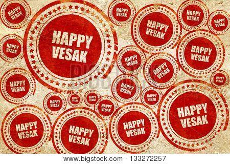 happy vesak, red stamp on a grunge paper texture