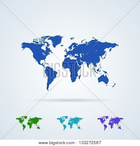 Vector Set from Colorful World Map Icons. Planet Earth. World Map Symbol Flat Icon.