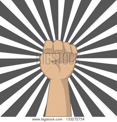 Hand up for showing power of our. Illustration in pop art and retro style