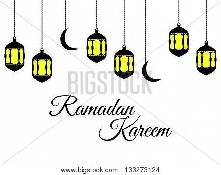 Ramadan Kareem, Lantern And Moon, Muslim Holiday Lights On A White Background. Vector.