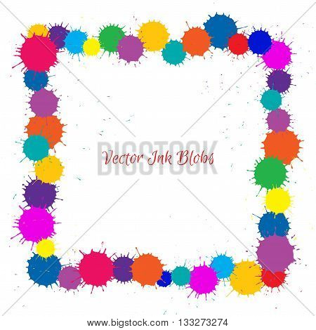 Vector Frame With Color Ink Blobs over white background. Frame for your design