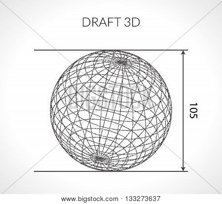 Hand-drawn scribble Sphere. Draft architect concept. Elements for design. Vector illustration