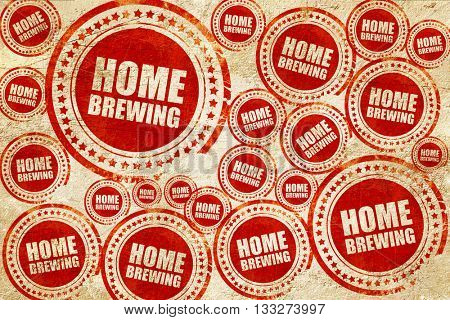 home brewing, red stamp on a grunge paper texture