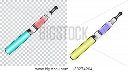 Vector illustration of vaporizer atomizer, battery, bottle,