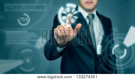 Businessman touching the digital touch screen by his finger. Innovative technology. New future. Thriving society. Modern presentation. Cropped photo.