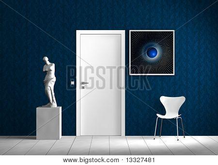 innen blau und weiß