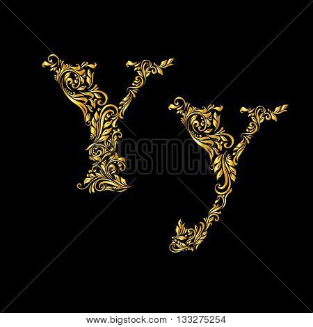 Richly decorated letter 'y' in upper and lower case.