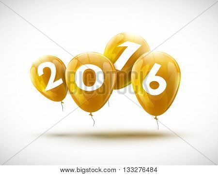 Sample greeting card 2016 Christmas card with realistic yellow balloons and numbers. Image Printer, stocks, greetings, e-mail, Web. Vector illustration.